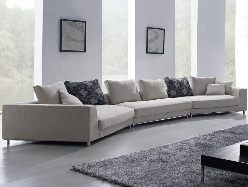 Contemporary Grey Large Size Fabric Sofa