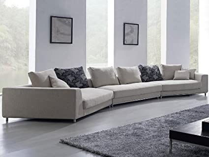 Contemporary Grey Large Size Fabric Sofa
