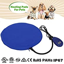 Zuoao Heating Pad Mat for Pets, Waterproof Electric Warming Cat Dog Cushion Bed With Anti Bite Tube & Soft Removable Cover