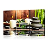VVOVV Wall Decor - Giclee Canvas Prints Zen Canvas Wall Art Green Bamboo Pictures SPA Stone Modern Artwork Stretched And Framed Contemporary Painting