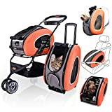 ibiyaya 5 in 1 Pet Carrier + Backpack + CarSeat + Pet Carrier Stroller + Carriers with Wheels for Dogs and Cats All in ONE (Orange)
