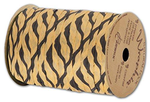 "Animal Print Raffia - Matte Wraphia Tiger Ribbon, 1/4"" x 100 Yds (3/pack) - BOWS-74900-TIG"