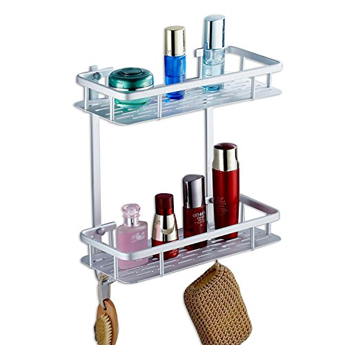 RackUp | Heavy Duty Anti-rust Aluminum 2-tier Wall Mount Shelf Organizer with Hooks, for Bathroom, Bedroom, Kitchen, Hardwares Included, 12.4 x 5.5 x 14inches, Silver Color