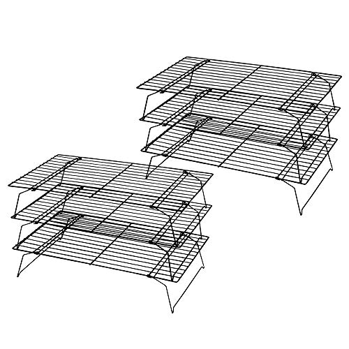 Kingrol 2 Pack 3-Tier Stackable Cooling Rack, Non-stick Wire Cake Rack for Pies, Cookies, - Rack Cooling Tiered