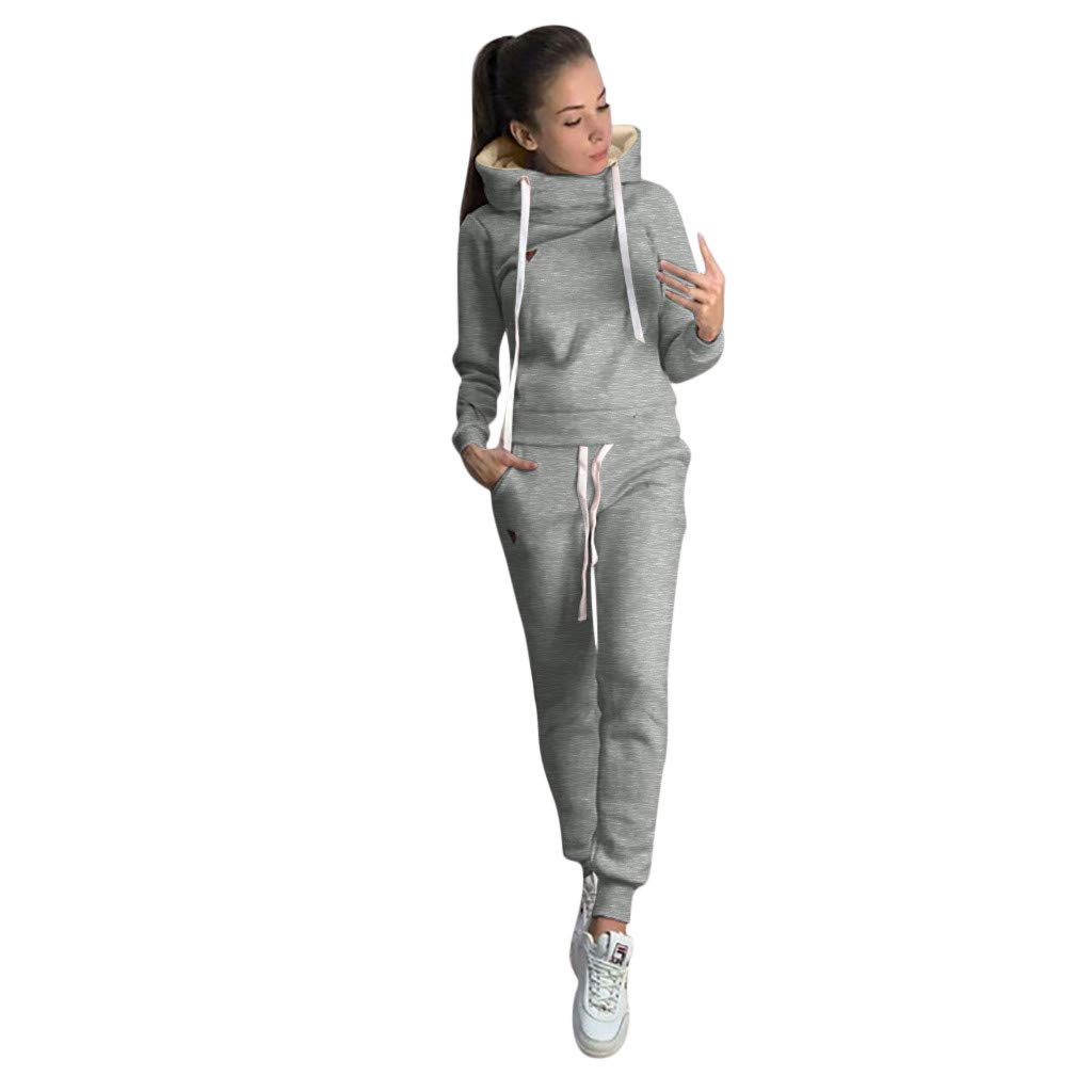 WUAI-Women 2 Piece Outfits Cowl Neck Long Sleeve Hooded Sweatshirt Tops+Sweatpants Tracksuit (Gray,Small) by WUAI-Women