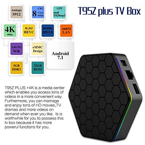 YAGALA T95Z Plus Android 7.1 TV Box Amlogic S912 Octa Core 3GB/32GB Dual Band WiFi 2.4GHz/5.0GHz 4K HD TV Box with Backlit Mini Wireless Keyboard by YAGALA (Image #5)