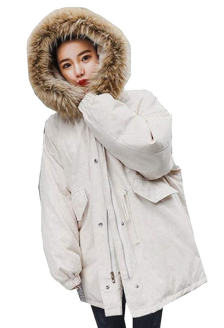 1 omniscient Women's Fur Hoodie Winter Parka Puffer Linen Outwear Down Coat