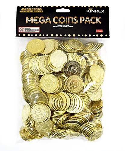 KINREX Plastic Gold Coins - Mega Novelty Pack - St. Patricks Coin - 400 Count - Great For Kids, Toddlers, Games, - Gold Leprechaun
