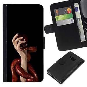 KingStore / Leather Etui en cuir / HTC One M9 / Red Serpiente y Manos
