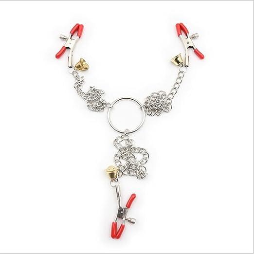 WKWNZ mamelon sexe métal jouets pour adultes bague de serrage vers le bas silicone rouge pince clip chaînes conçues ( Color : Rouge ) warVbCdDj