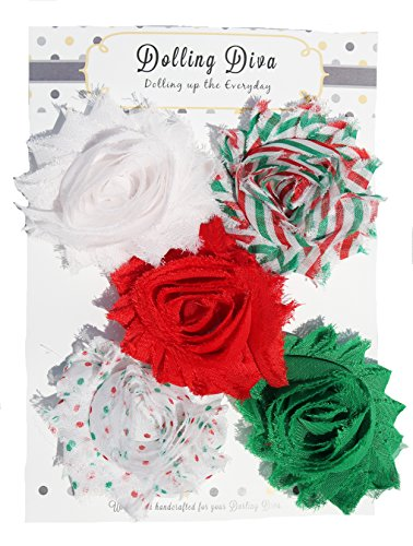 Dolling Diva- Christmas Shabby Chiffon Hair Clip Set (Christmas Time)
