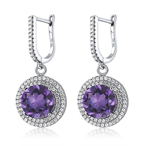 Gem Stone King 8.16 Ct Round Purple Amethyst 925 Sterling Silver Earrings