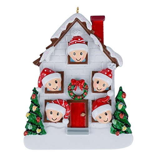 Family of 5 Christmas House Personalization Ornament