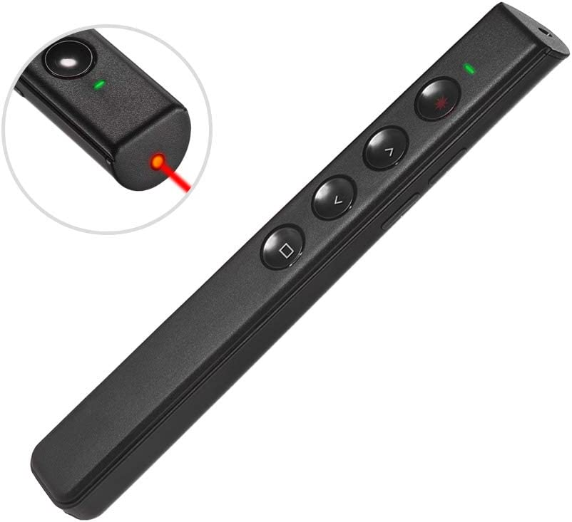 Fesjoy Presentador digital PowerPoint recargable PPT Clicker Flip Pen Presentación profesional 2.4GHz Pluma de control remoto inalámbrico Puntero de luz roja con receptor USB Soporte Recordatorio de