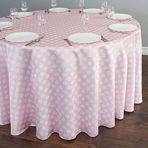 120 in. Round Polka Dot Satin Tablecloth Pink / White
