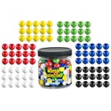 "My Toy House Chinese Checkers Glass Marbles. Set of 90, 15 of Each Color. Size 9/16"" (14mm), with Practical Container"