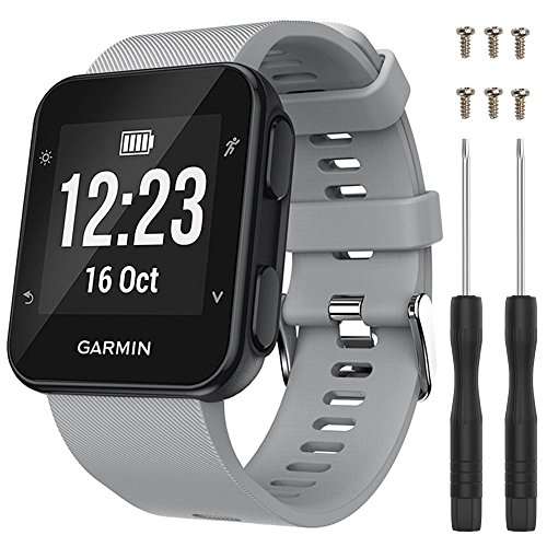 QGHXO Band for Garmin Forerunner 35, Soft Silicone Replacement Watch Band Strap for Garmin Forerunner 35 Smart Watch, Fit 5.11-9.05 (130mm-230mm) Wrist (grey)