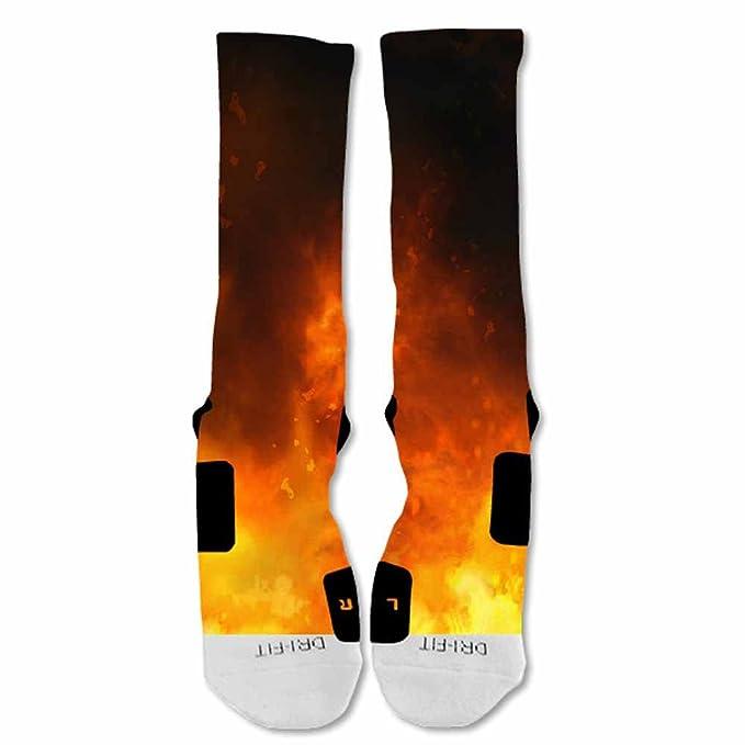 Amazon.com: elitedesignzz Hombres Calcetines de llamas ...