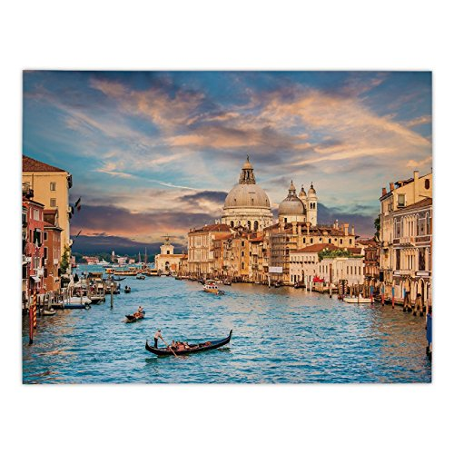 Polyester Rectangular Tablecloth,Venice,Gondola on Famous Canal Grande with