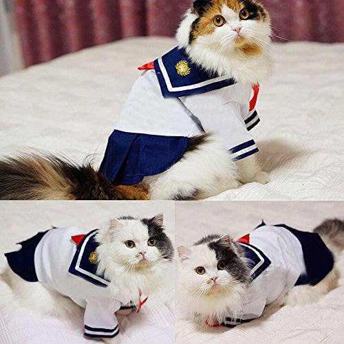 Bro'Bear Pet Navy Uniform Cats & Small Dogs Sailor Dress with Red Bowknot (Large)