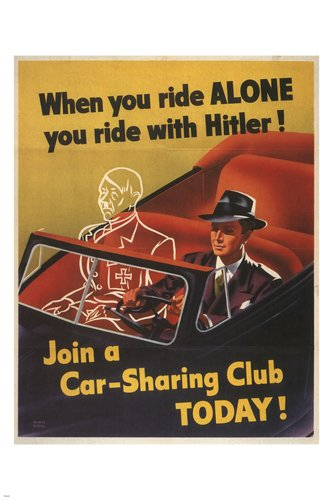 WHEN YOU RIDE ALONE YOU RIDE WITH HITLER vintage poster US 1943 24X36 RARE