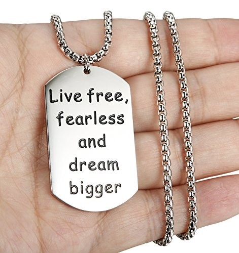 LOYALLOOK Stainless steel Pendant Live Free Fearless and Dream Bigger Inspirational Letters Engraved Dog Tag Necklace for Men 24 Inch