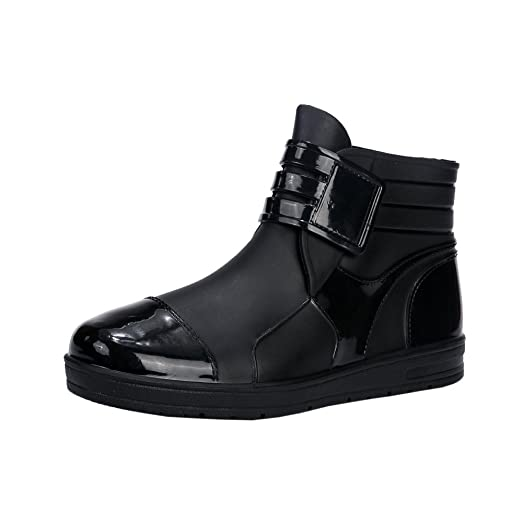 Mens Fashion Fleece Ankle Rain Boots Antiskid Waterproof Shoes Slip-On Hook & Loop