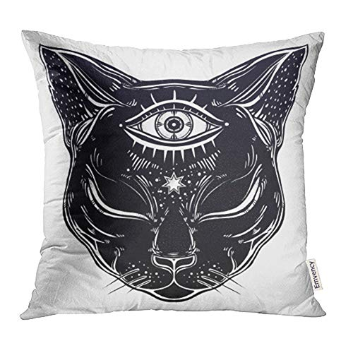 Emvency Decorative Throw Pillow Case Cushion Cover Black Cat Head Portrait with Moon and Three Eyes Third is Open for Halloween Tattoo 16x16 Inch Cases Square Pillowcases Covers Two Sides Print