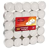 USA Tealight White Unscented Tealights, 50-Pack