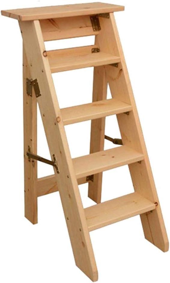 LY-Escalera Paso sólido plegable de madera taburete de la cocina del pie heces heces portátil multifunción escalera plegable flor Silla soporte de carga de 150 kg (Color : Marrón): Amazon.es: Bricolaje y
