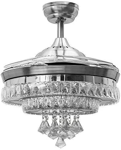 Sweety House 42″Luxury Crystal Ceiling Fan Chandelier