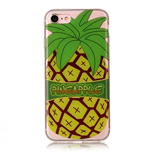 iPhone 7 Coque,Ananas jaune Premium Gel TPU Souple Silicone Transparent Clair Bumper Protection Housse Arrière Étui Pour Apple iPhone 7 + Deux cadeau