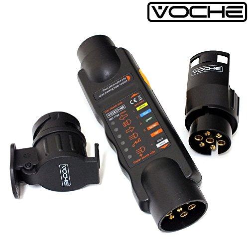 VOCHE 12V 7 Pin Trailer Lights Plug /& Socket Wiring Circuit Tester plus 13 Pin