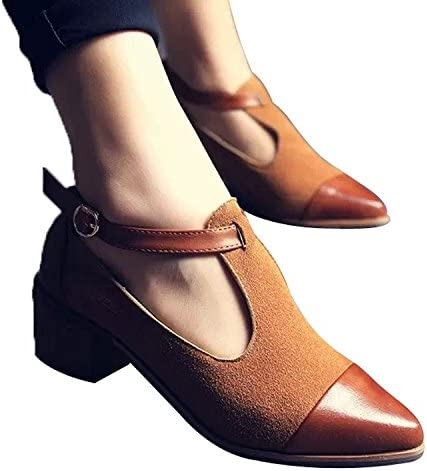 Xipai Women's Vintage Cute Oxford Low Heel Pointed Toe Ankle Boot Shoes