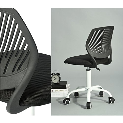 Black with White Base Office Task Adjustable Desk Chair Mid Back Home Children Study Chair