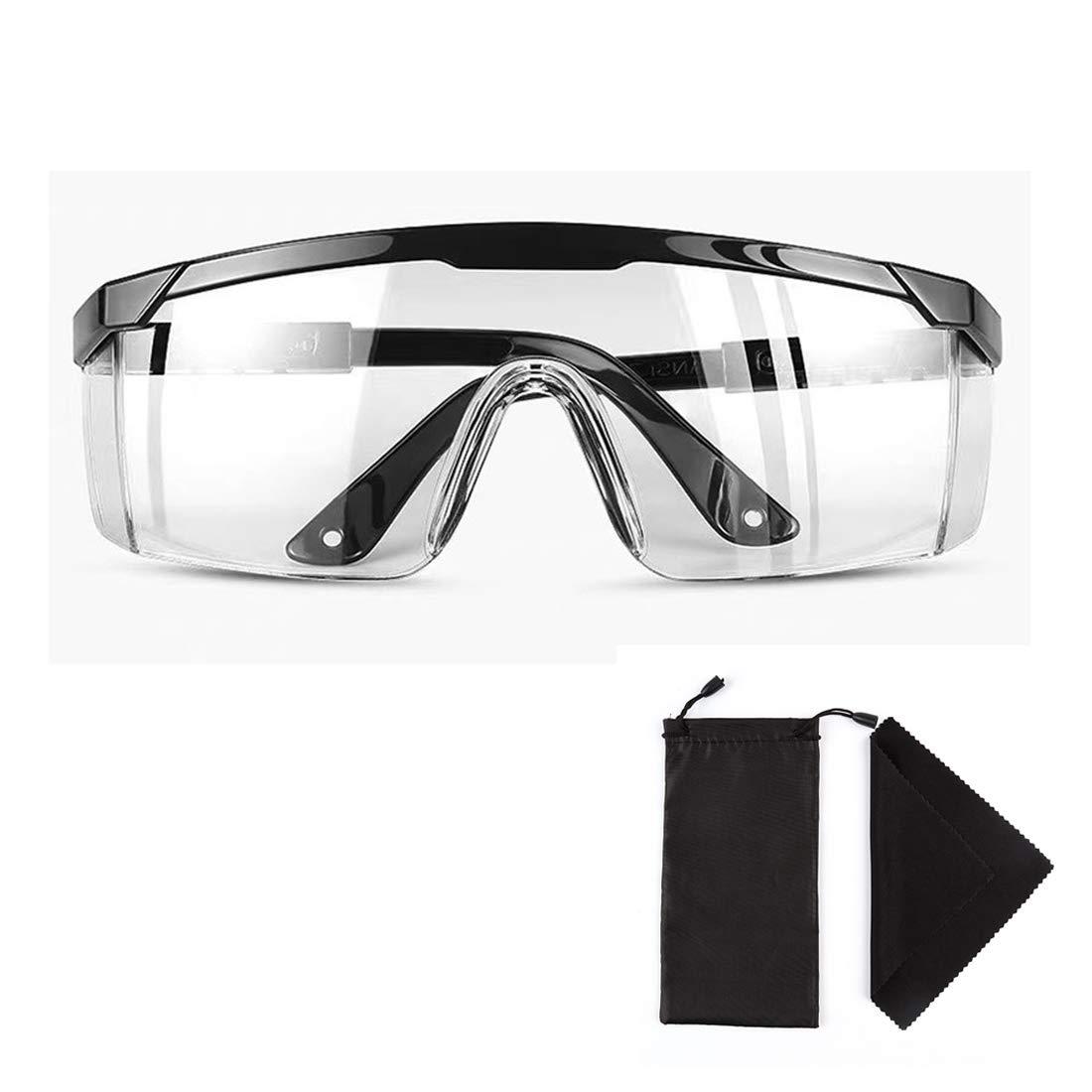 Claro Seguridad Lentes Personal Protector Equipo Anti niebla Gafas de protección para Hombres, Mujeres y Jóvenes, Templo ajustable, con Anteojos Bolso