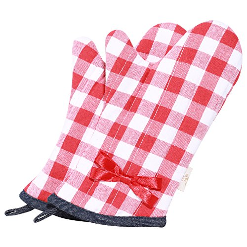 Neoviva Cotton Quilting Heat Resistant Oven Mitt for Child, Set of 2, Checked Red by Neoviva (Image #1)
