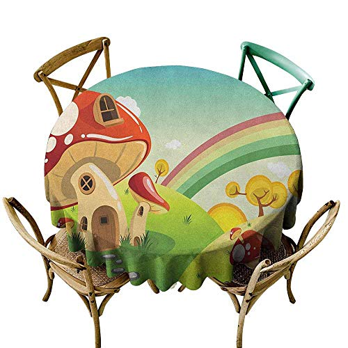 Colorwave Accent - Tablecovers Round Mushroom,Mushroom Fantasy House Steppingstone Farm Field After The Rain Outdoor Childhood, Multicolor D54,for Accent Table