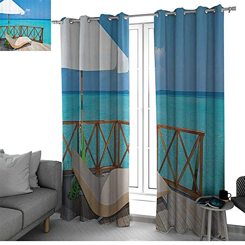 - Coastal Decor Collection Room Divider Curtain Screen Partitions Parasol and Chaise Lounges Deckchair on a Terrace of Water Villa in Maldives Reef Picture boys room decor Aqua Sandy Blue Ivory