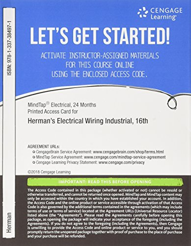 MindTap Electrical, 4 terms (24 months) Printed Access Card for Herman's Electrical Wiring Industrial, 16th (MindTap Course List)