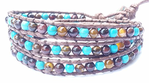 Reconstructed Turquoise Tiger Eye Stone Leather Wrap Bracelet , 3 Wraps, 4mm/bead (Ann Taylor Loft Green)