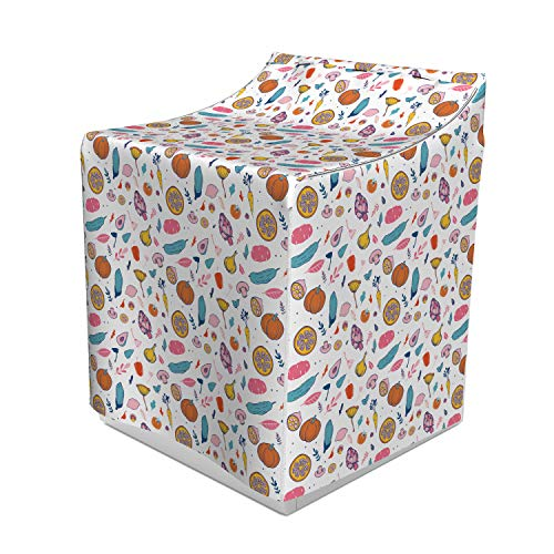 - Lunarable Vegetables Washer Cover, Sweet Colorful Abstract Food Pattern with Mushroom Garlic and Artichoke Design, Easy to Use Bathroom Accent Fabric, 29