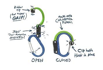 Clip de mosquetón multifunción Heroclip 3 en 1 con gancho giratorio plegable - Clip fuerte para acampar, viaje, herramienta de aventura, accesorio deportivo ...