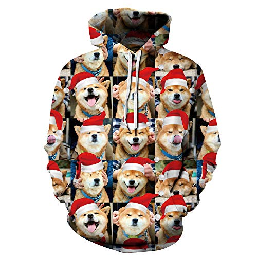 SAINDERMIRA Unisex Fashion 3D Digital Galaxy Pullover Hooded Hoodie Sweatshirt Athletic Casual with Pockets (Xmas Shiba Inu, Large/X-Large)]()