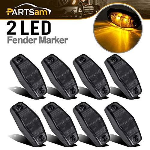 Partsam 8pcs 12V LED Light 2 Diode Smoke Lens/Amber Universal Mount Clearance Side Marker Trailer, Sealed Mini Rectangular Rectangle Led Lights Trailer Fender Marker Sidelight (2.54x1.06inch)
