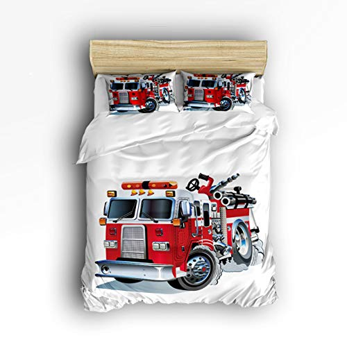 iece Bedding Set, Cars Decor Big Fire Truck Duvet Cover Set Quilt Bedspread for Childrens/Kids/Teens/Adults King Size(Extra Large) ()