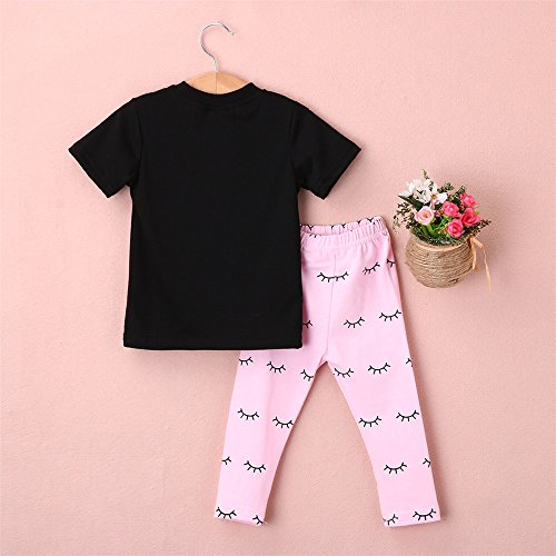 Black Clothes Girls' Baby 2016 amp;Pink Newborn Pants Set Lip T Print shirt Aliven Outfits vq57wUS7
