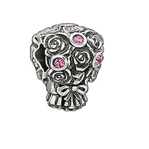 Authentic Chamilia Sterling Silver Charm Wedding Bouquet w/Rose Swarovski 2025-1116 Trollbeads Rose
