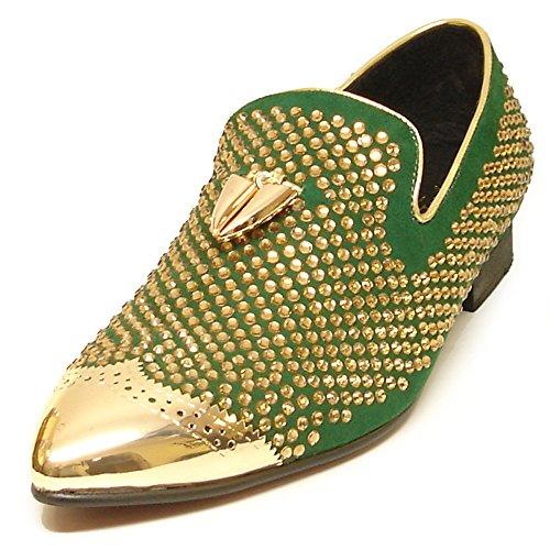 Fiesso by Aurelio Garcia Shoes FI-6968 Green Suede With Gold Rhinestones Metal Tip and Metal Tassel - European Shoe Designs