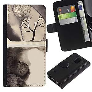 Paccase / Billetera de Cuero Caso del tirón Titular de la tarjeta Carcasa Funda para - Ruined nature - Samsung Galaxy S5 V SM-G900